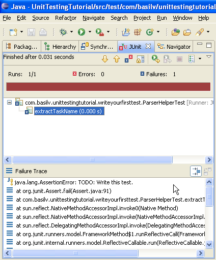 Eclipse JUnit View with failure