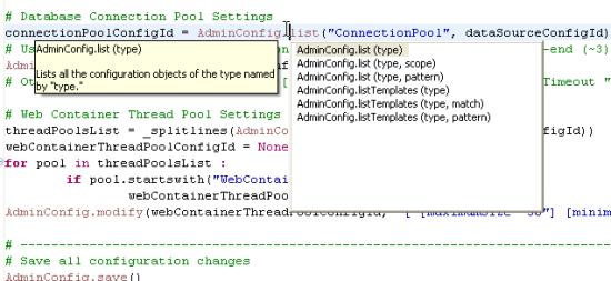 RAD Jython editor showing content assist